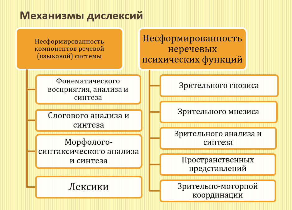 Механизмы дислексий